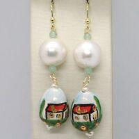 Ohrringe aus Gold Gelb 750 18K Perlen Fw und Tropf Bemalt Hand Made in Italien