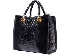 NWT: ITALIAN HANDBAG BAG GENUINE LEATHER CROCO EMBOSSED FLORENCE; MADE IN ITALY