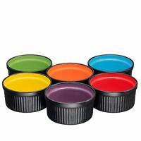 Bruntmor 6 PC Ceramic Ramekins Dishes for Backing Cocking & Serving 8 Oz Black