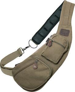 Olive Drab Compact Crossbody Canvas Vintage Sling Bag Shoulder Bag Or Chest Pack