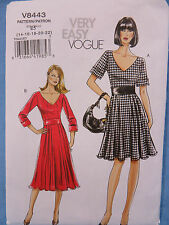 Very Easy Vogue V8443 Flared Dress Pattern 14-22 New Uncut