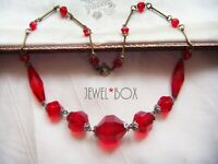 SIGNED ART DECO CZECH MULTI FACET MOULDED RUBY RED CRYSTAL VINTAGE NECKLACE