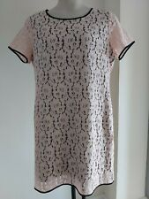 Ladies NEXT pastel pink LACE style size 18 DRESS occasion black lined FREE POST