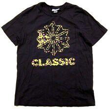 Reebok Classic Neon Leopard Animal Print Logo Black T Shirt sz L