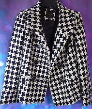 The Limited Black White Houndstooth Acrylic Lined Double Breasted Jacket Coat XS
