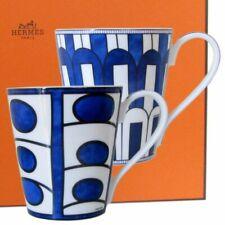 HERMES Porcelain Bleus D'Ailleurs Mug Cup 2 set Tableware Ornament Pottery Auth