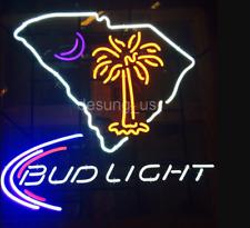 "New Carolina Palmetto Bud Light Open Bar Beer Light Neon Sign 24""x20"""
