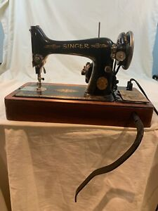 1925 SINGER SEWING MACHINE MODEL15 - SN #AA With Box and Knee Pedal Works - 484