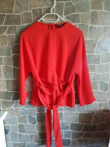 Topshop Red Blouse Tie Around Career To Evening Top UK 8-10