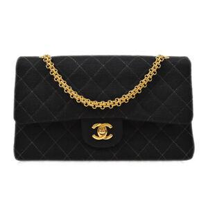 CHANEL Classic Double Flap Medium Chain Shoulder Bag 4357900 Black Cotton 72272