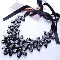 Women Crystal Flower Ribbon Chain Necklace Bib Statement Collar Chunky Jewellery