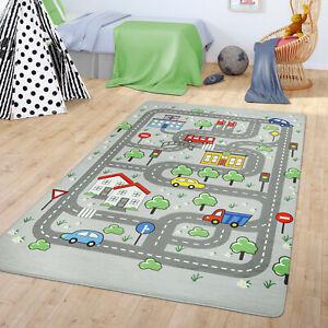 Teppich Kinderzimmer Spielteppich Babymatte Jungs Straßenteppich Auto Stadt Moti