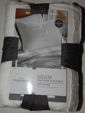 Threshold Pillow Sham 1 Standard White 100% Cotton Solid Raw Gathered Striped
