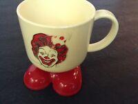 1985 McDonald's Plastic Party Cup Ronald McDonald Mug Red Clown Feet
