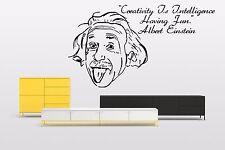 Vinyl Wall Decal Sticker Room Decor Saings Quotes Albert Einstein Portrait F2063