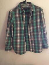 Polo Kids Polo Flannel Button Down Shirt L (14-16) green soft flannel