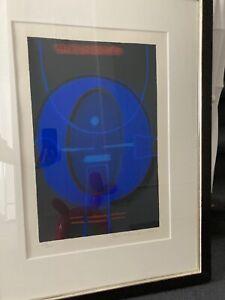 Max Ackermann ,Nächtliches Blau / Farbserigraphie, handsigniert,1973, gerahmt