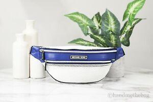 Michael Kors Sport Danika Blue/White Mesh Waist Pack Crossbody Fanny Belt Bag