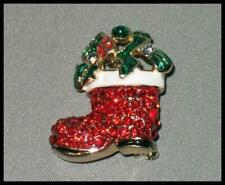 Emerald Crystals Ships Fast From Usa Santa Boot Pin Sparkling Red &
