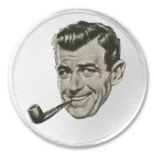 """Vintage Man Smoking Pipe - 3"""" Sew / Iron On Patch Retro Dapper Snazzy Gift"""