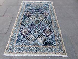 Fine Vintage Traditional Hand Made Rug Wool Silk Navy Blue Beige Rug 191x120cm