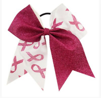 7'' Large Breast Cancer Awareness Glitter Cheer Bow Hair Bows With Elastic Rope