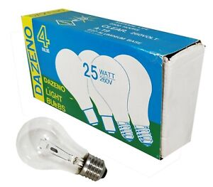 4 x 25W Clear Light Globes Bulbs Lamps E27 Screw Incandescent A19 GLS