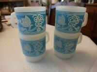 Anchor Hocking Fire King Blue Floral  Mugs Milk Glass Stackables