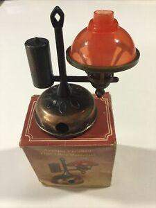 VINTAGE ANTIQUE FINISHED ZINC METAL OIL LAMP PENCIL SHARPENER HONG KONG MIB