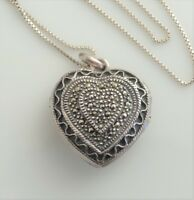 """Sterling silver heart locket pave marcasite necklace 925 Italy FAS 25"""" chain vtg"""