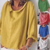 Women Summer Linen Shirts Casual 3/4 Sleeve Lapel Solid Blouse Tops Plus Size JM
