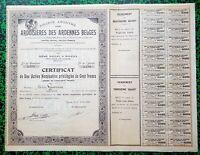 Belgique - Région des Ardennes Belges & Oignies - Rare Ste des Ardoisières 1907