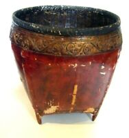 Antique C.19th Burmese Red Lacquer Woven Rattan Rice Basket Large Indoor Planter