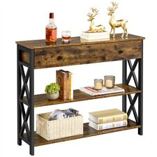 Console Table with Long Drawer & Storage Shelves for Living Room/Hallway