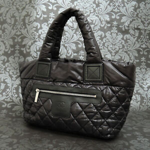 CHANEL Coco Cocoon Nylon Quilted Padded Black Tote bag #2397 Rise-on