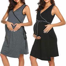 Women Sleeveless Nursing Breastfeeding Maternity Pregnant Solid Mini Wrap Dress