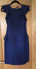 Ladies Asos Blue Peplum Dress Size 10