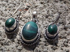 Handmade ethnic silver plated earrings and pendant with malachite cabochons