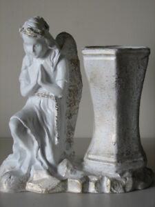 Engelfigur + Vase GRABVASE Grablichter Grablaterne Grablicht Grabschmuck Engel