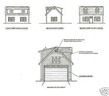 16x24 1 Car Garage / Garden Potting Shed Building Blueprint Plans w/ Open Attic