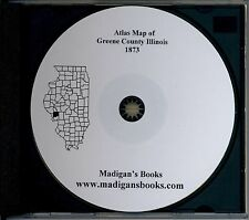 Greene Co Illinois IL 1873 Atlas  plat book genealogy  history land owners CD