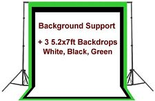 2.2x2m Photo Studio Background Support + 3 Backdrops