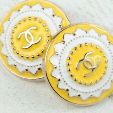 New listing Chanel Buttons Cc 💛 Yellow 21 mm Vintage Style Unstamped 2 Buttons Auth!