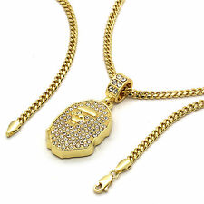 "14k Gold Plated Custom Iced Out HipHop Bling Cz Ape Pendant with 24"" Cuban Chain"