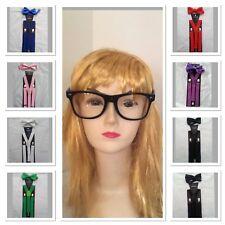 Nerd Costume Kit Set Glasses Bow Tie Suspender Fancy Dress Costume Party Accesso