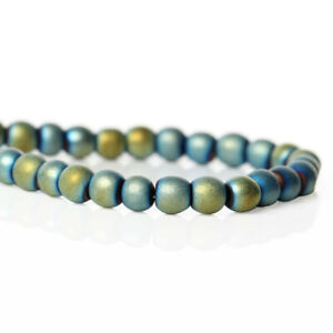 Synthetic Hematite Beads Frosted Blue Green 4mm 1 Strand - 95 Beads - BD624