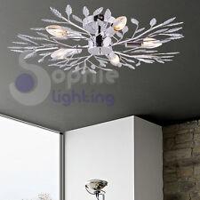 Plafoniera soffitto lampada design moderno acciaio cromo bracci foglie salone