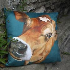Luxury Jersey cow  cushion,of a painting  by Thuline De Cock, 'A beautiful day'