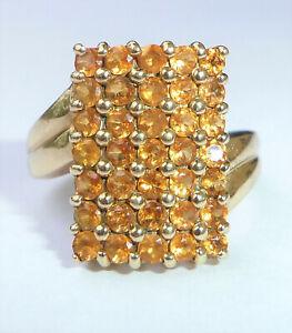 9ct Gold Citrine Rectangular Cluster Cocktail Ring, Size N1/2