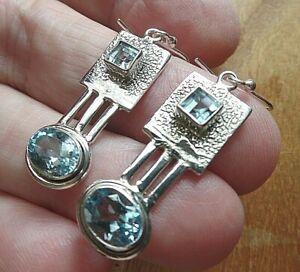 Jungenstil Style Sterling Silver and Blue Topaz Earrings November Birthstone